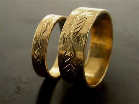 Leaf Carved Engraved Wedding Bands ? Jelena Behrend Studio