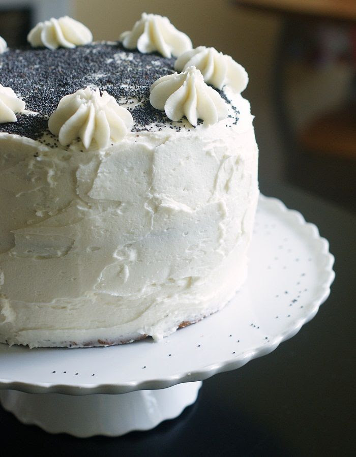 Spiced Poppy Seed Cake with Almond Buttercream