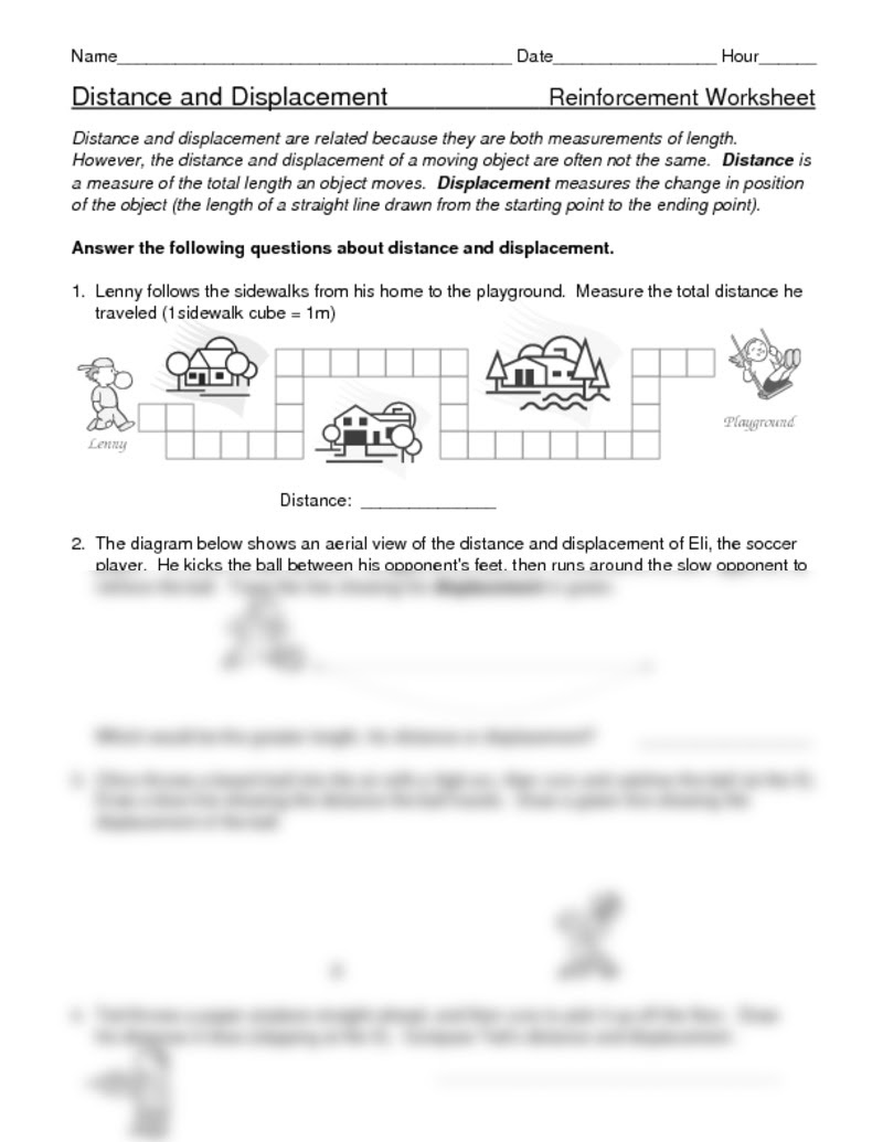 Distance And Displacement Worksheet Answer Key ...
