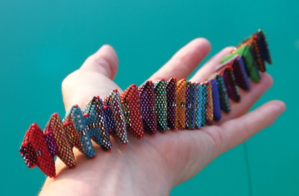 Kate's Power Puff Worm, Contemporary Geometric Beadwork 2012, Kate McKinnon