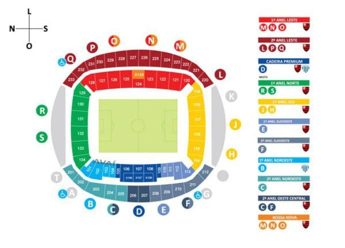 Mapa de ingressos para Flamengo x Avaí na Arena das Dunas, em Natal (Foto: Reprodução)