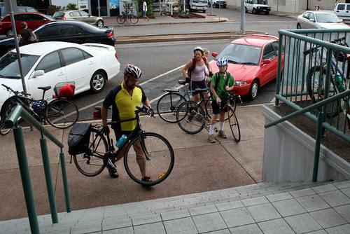 Cyclists arrive