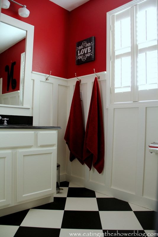 Ralph Lauren Stadium Red and Benjamin Moore Acadia White Bathroom from @Eating in the Shower Blog