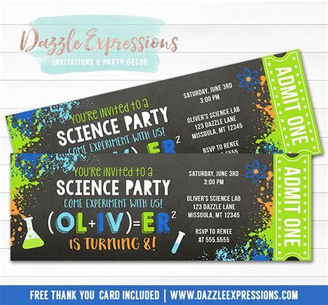 Printable Science Chalkboard Ticket Birthday Invitation