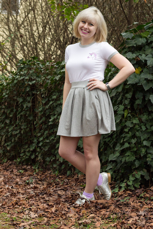 Outfit: Embroidered Unicorn Shirt, Gray Pleated Skirt, and Silver Shoes