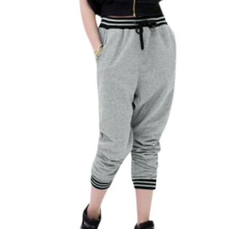 Women's Elastic Waist Drawstring Front Pockets Harem Pants Gray (Size M \/ 8)