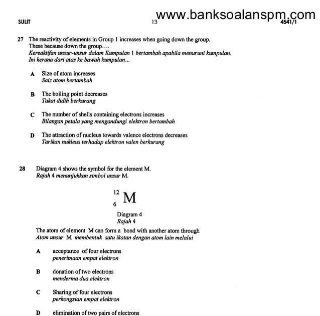 Contoh Soalan Kimia Tingkatan 4 Bab 6 Persoalan O