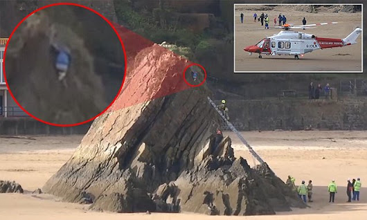 Schoolboy scaled a 50ft rock before getting stuck for TWO hours