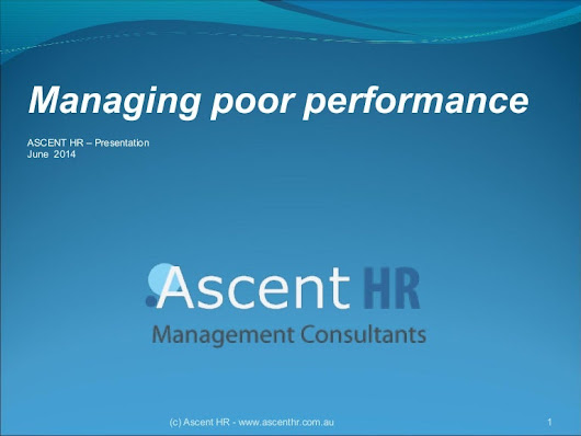 Managing Poor Performance by Ascent HR Management Consultants