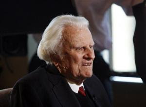 Evangelist Billy Graham is interviewed at the Billy Graham Evangelistic Association headquarters in Charlotte, NC.