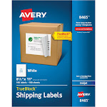 """Avery Shipping Labels, TrueBlock Technology, Permanent Adhesive, 8-1/2"""" x 11"""", 100 Labels (8465)"""