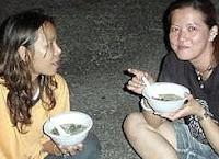 Enjoying Cock Pain's seafood Porridge