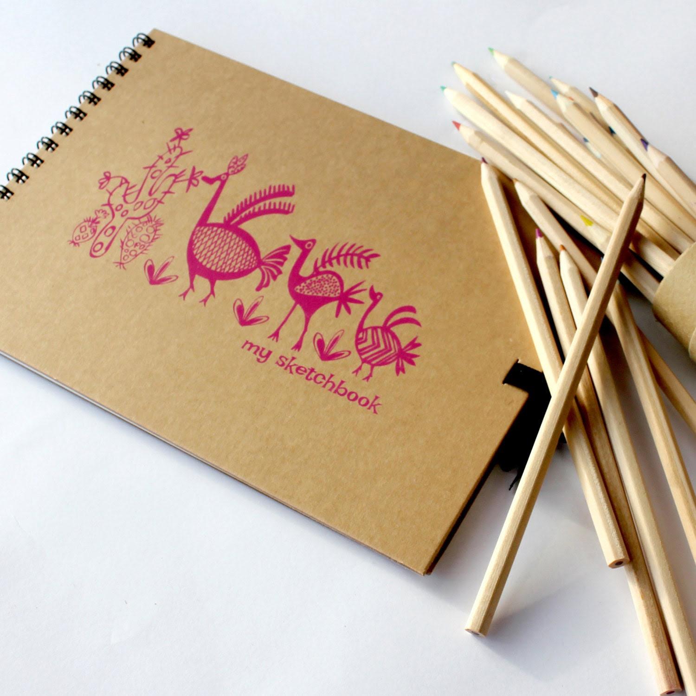 Girls Artists Sketchbooks, Pueblo Birds Designs,Medium sketchbook,  UK - ZoeEstKids