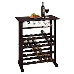 Winsome Wood Vinny Wine Rack, 24-Bottle with Glass Hanger - Winsome Wood - 92023