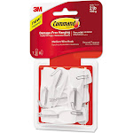 General Purpose Hooks, Medium, 2 Lb Capacity, White, 7 Hooks & 8 Strips/pack