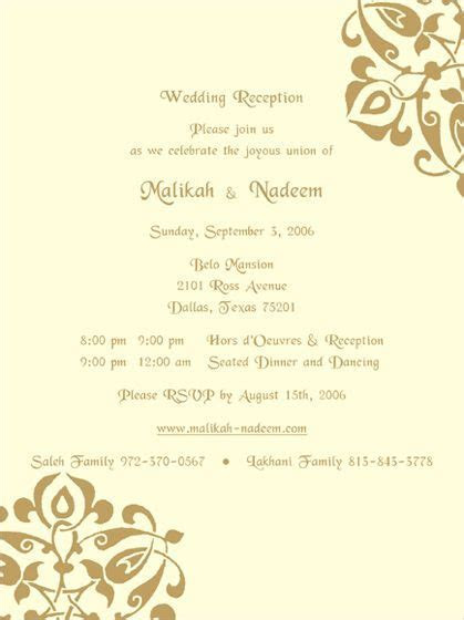 wedding ceremony and wedding reception invites   Reception