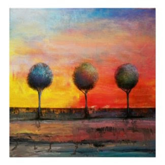 Trees in a Tuscan Sunset print