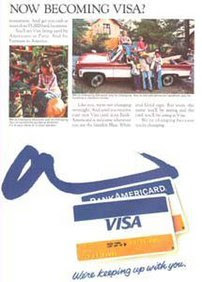 A 1976 ad promoting the change of name to VISA...