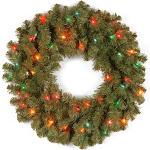"National Tree Company 24"" Kincaid Spruce Wreath with Multicolor Lights"