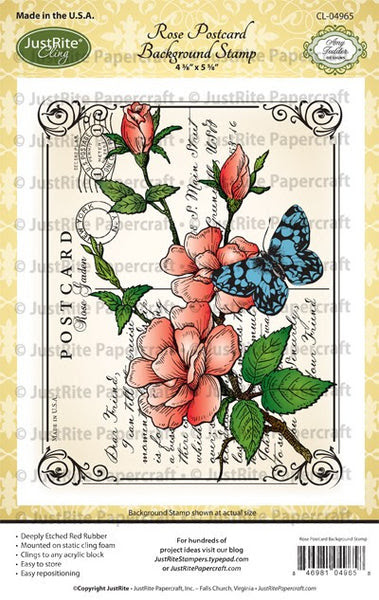 Rose Postcard Cling Background Stamp