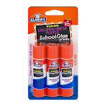 Elmers School Glue Sticks, Washable, Disappearing Purple - 3 pack, 0.21 oz sticks