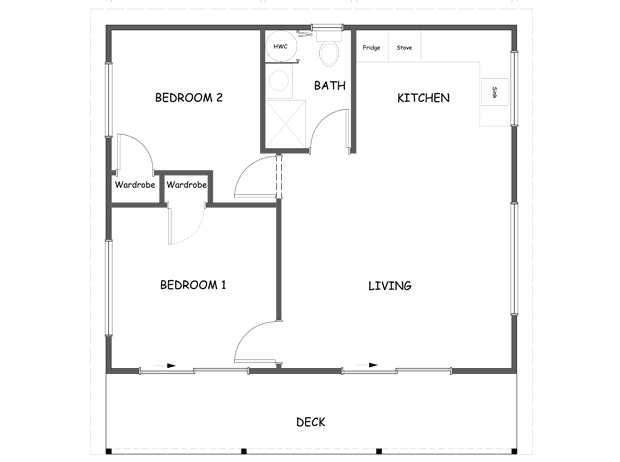 50m2 Two bedroom plus deck - Mount Timber Homes