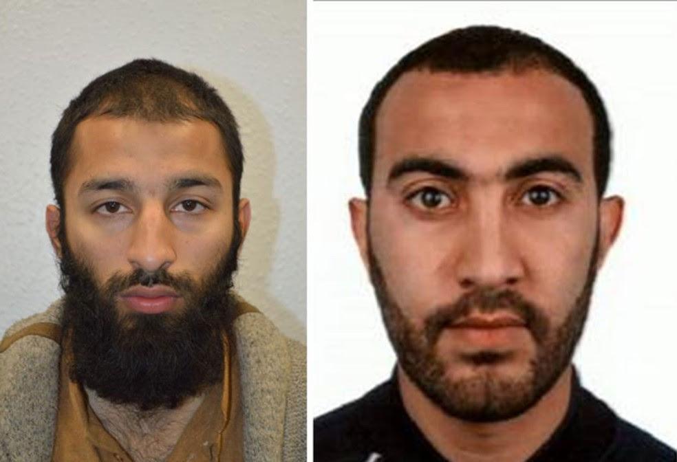 Os suspeitos Khuram Shazad Butt e Rachid Redouane, identificados pela polícia britânica como autores do ataque que matou 7 na London Bridge (Foto: Reprodução/Twitter/Metropolitan Police)