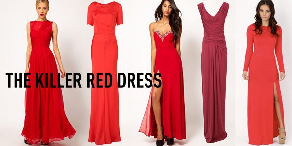 Evening red maxi dress