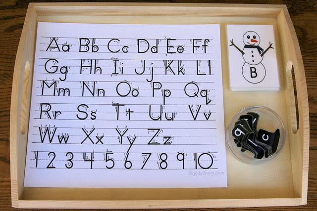 Montessori-Inspired Snowman Letter Tray
