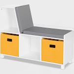 Kids' Book Nook Collection Cubby Storage Bench with 2 Bins Golden Yellow - RiverRidge