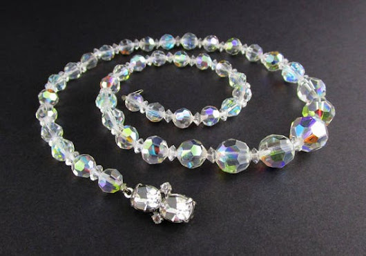 Necklace Beaded Crystal Aurora Borealis Rhinestone by Vintage55