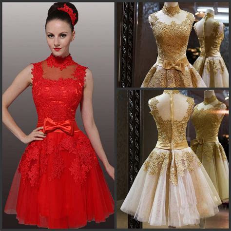 Discount New Wedding Dresses High Neck Red Gold Tulle