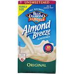 Blue Diamond Growers Almond Breeze Almond Milk Unsweetened Original 0.5 Gallon