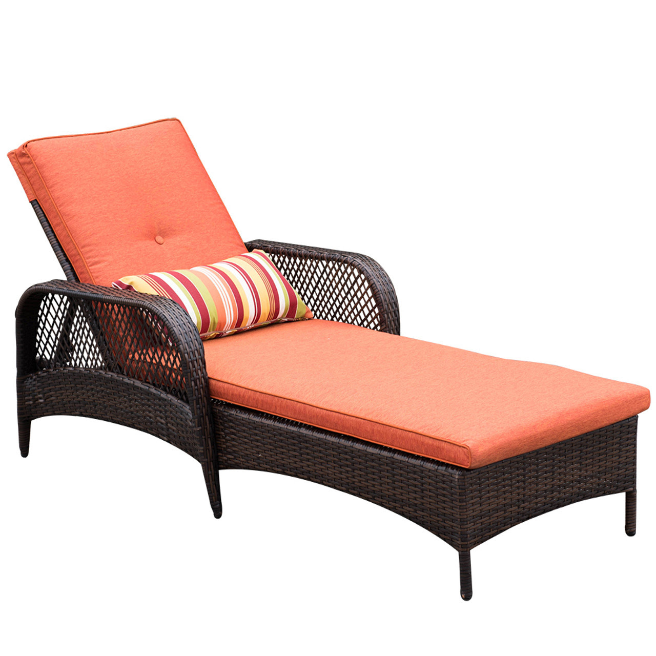 Luxury Reclining Brown Wicker Chaise Lounge Chair Outdoor ...