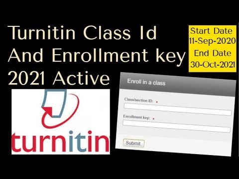 Turnitin Class Id And Password Free 2021 Active - Turnitin Class Id And Enrollment key 2021 Active