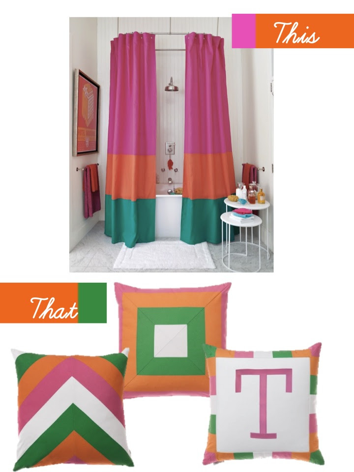 martha stewart color block shower curtain