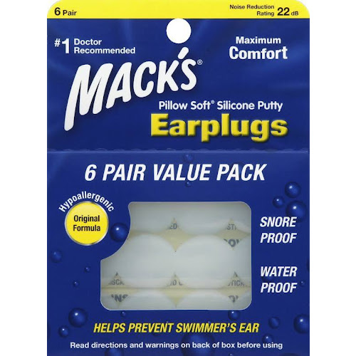 Macks Pillow Soft Silicone Putty Earplugs - 6 pairs
