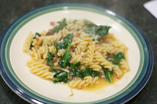 Tuesday Dinner: Pasta with Mushrooms, Pancetta and Wilted Greens