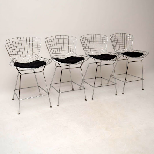 Set of 4 Retro Wire Bar Stools by Harry Bertoia Vintage 1960's