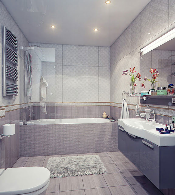 Modern Bathroom  with White  and Grey  Sink Interior Design