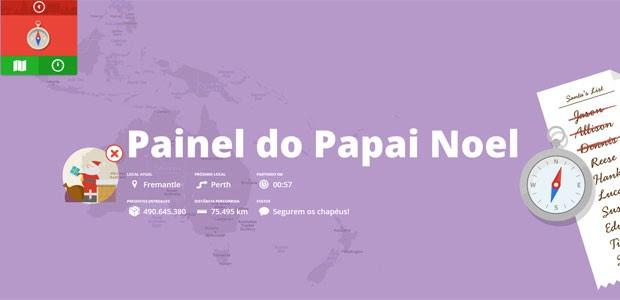 'Painel do Papai Noel' mostra informações sobre a localização do bom velhinho (Foto: Reprodução)