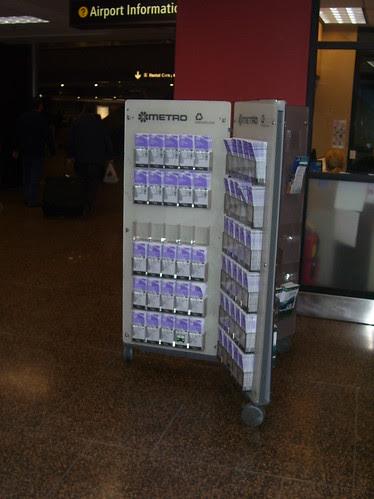 Public transit information rack, Seattle-Tacoma Airport