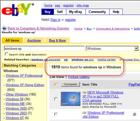 Selling pirated Microsoft Software on eBay