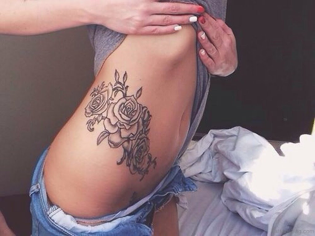 47 Brilliant Rose Tattoos Designs On Rib