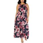 SLNY Womens Plus Floral Embellished Evening Dress Navy 18W