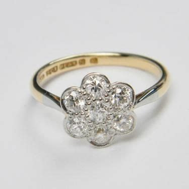 Edwardian Daisy Cluster Diamond Ring   DB Gems