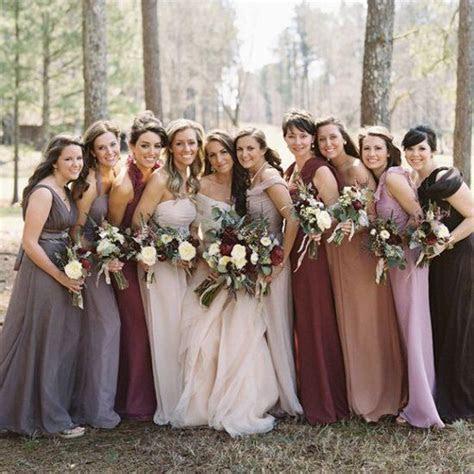 Mixed Bridesmaid Dress Ideas, Burgundy, Blush, Gray, Taupe