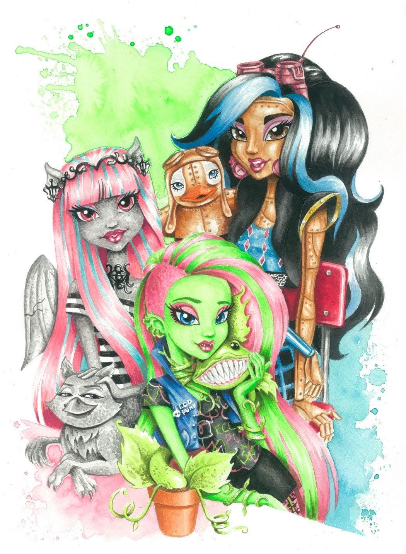 Monstruo alto arte grabado: Venus Mcflytrap, Rochelle Goyle y vapor Robecca