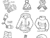 Imagier lié au vocabulaire de l'hiver, les vêtements