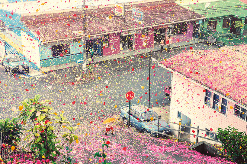 nick meek photographs costa rica covered in flower petals for sony